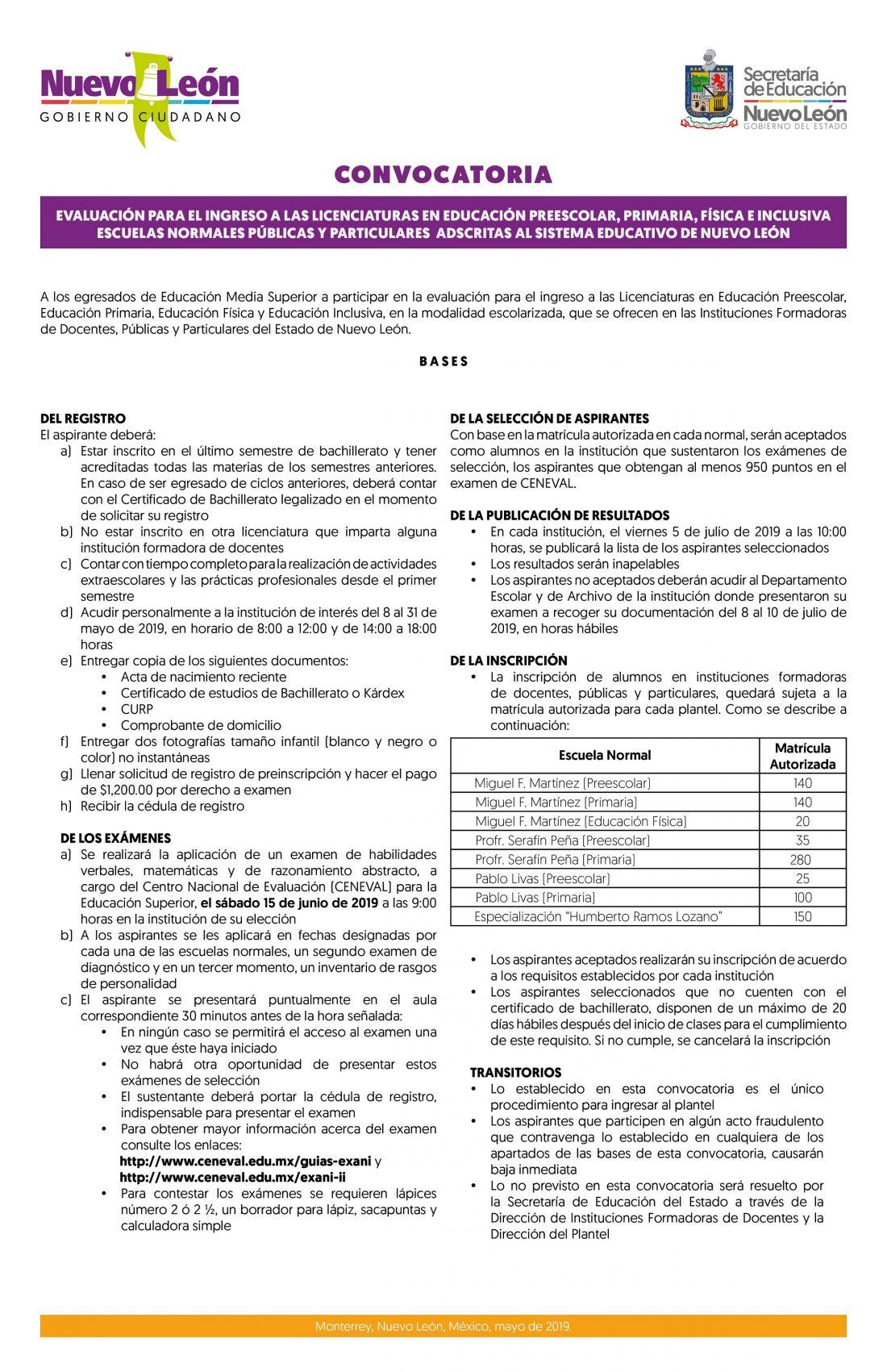 Convocatoria EVALUACION INGRESO A LIC EDUC FISICA PREESCOLAR PRIM FISICA E INCLUSIVA 70